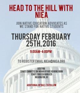 NIEA Legislative Summit 2016 @ Senate Committee on Indian Affairs Hearing Room, Senate Dirksen Rm 628, Washington D.C.